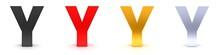 Y Letter 3d Sign Y Black Red Gold Silver