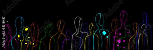 Fototapeta connect the people concept, crowd of vivid colored people, crowd creative contemporary idea, obraz na płótnie