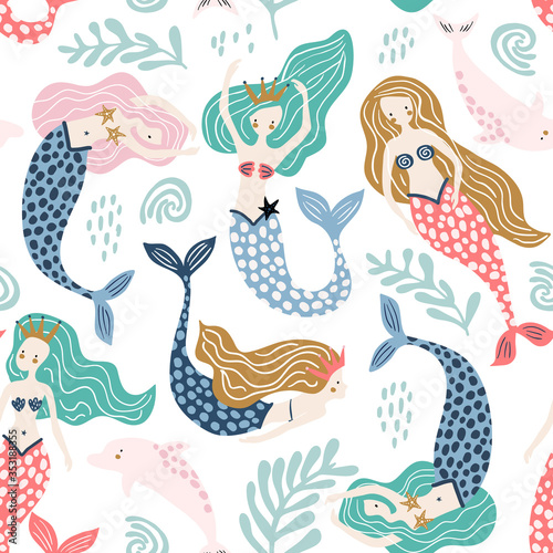 Seamless pattern with creative mermaids with dolphins Fotobehang