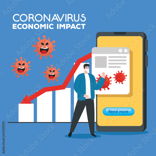 Obraz coronavirus 2019 ncov impact global economy, covid 19 virus make down economy, world economic impact covid 19, man with business statistic down vector illustration design - fototapety do salonu