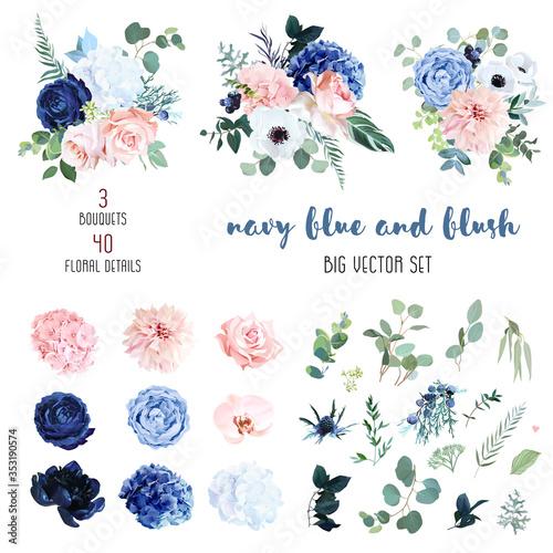 Photo Classic navy blue, white, blush pink rose, hydrangea, ranunculus, orchid