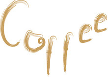 Coffee Hand Drawn Word With Cup, Lettering For Coffee Shop. Perfect For Coffee Shop, Cafe Menu, Logo And Other.