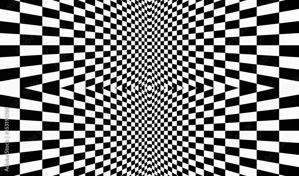 Geometric background with checkered texture - Abstract illusion