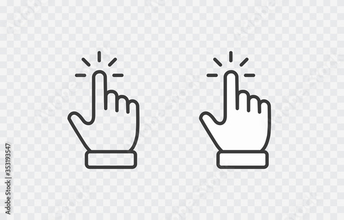 Cuadros en Lienzo Click cursor set icon isolated on transparent background