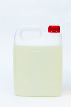 Plastic Canister With Liquid On White Background.