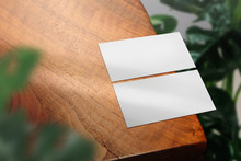 Clean Minimal Business Card Mockup With The Leaves On Wood Table Background. PSD File.