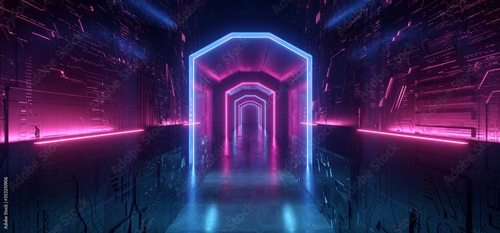 Fototapeta Sci Fi Neon Laser Motherboard Walls Alien Space Ship Purple Blue Futuristic Synth Cyber Hallway Corridor Metal Schematic Metal Reflections Realistic Dark Night Warehouse 3D Rendering