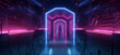 canvas print picture Sci Fi Neon Laser Motherboard Walls Alien Space Ship Purple Blue Futuristic Synth Cyber Hallway Corridor Metal Schematic Metal Reflections Realistic Dark Night Warehouse 3D Rendering
