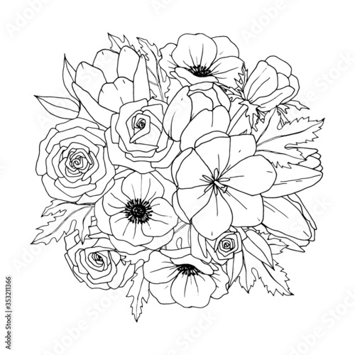 Flower Bouquet - Floral Mix. Vector Coloring Page– Flower Bouquet. Coloring  Book Page. Hand-drawn Illustration For Coloring. Stock Vector Adobe Stock