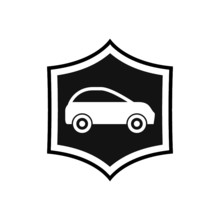 Car Protection Or Insurance Icon Isolated On White Background. Protect Car Guard Shield
