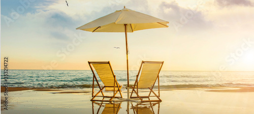 Background with couple of deck chairs at sunset, Travel concept, Summer backgrou Fototapete