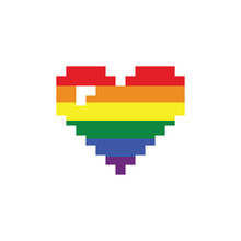 Pixel Gay Heart Vector Flag Or LGBT. Rainbow Flag. Pride Symbol.