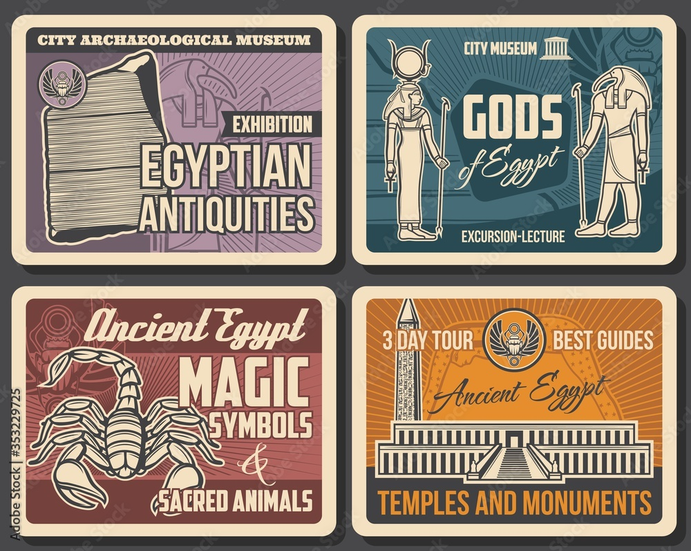 Fototapeta Ancient Egypt vector Valley of the Kings necropolis, Rosetta stone and gods, sacred scorpion, Thoth and Hathor with Ankh symbols, scarab and Luxor obelisk. Archaeological and historical posters