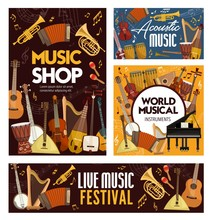 Concert, Festival Or Shop Of Musical Instruments . Vector Guitar, Piano, Violin, Drum And Harp, Trumpet, Horn, Tuba And Maracas, Musical Notes, Treble Clef, Banjo, Shamisen And Balalaika