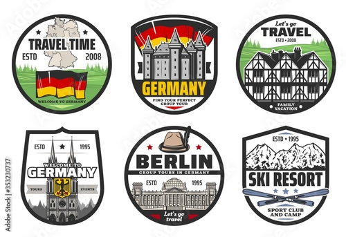 Fotografia Germany travel and landmark isolated vector icons