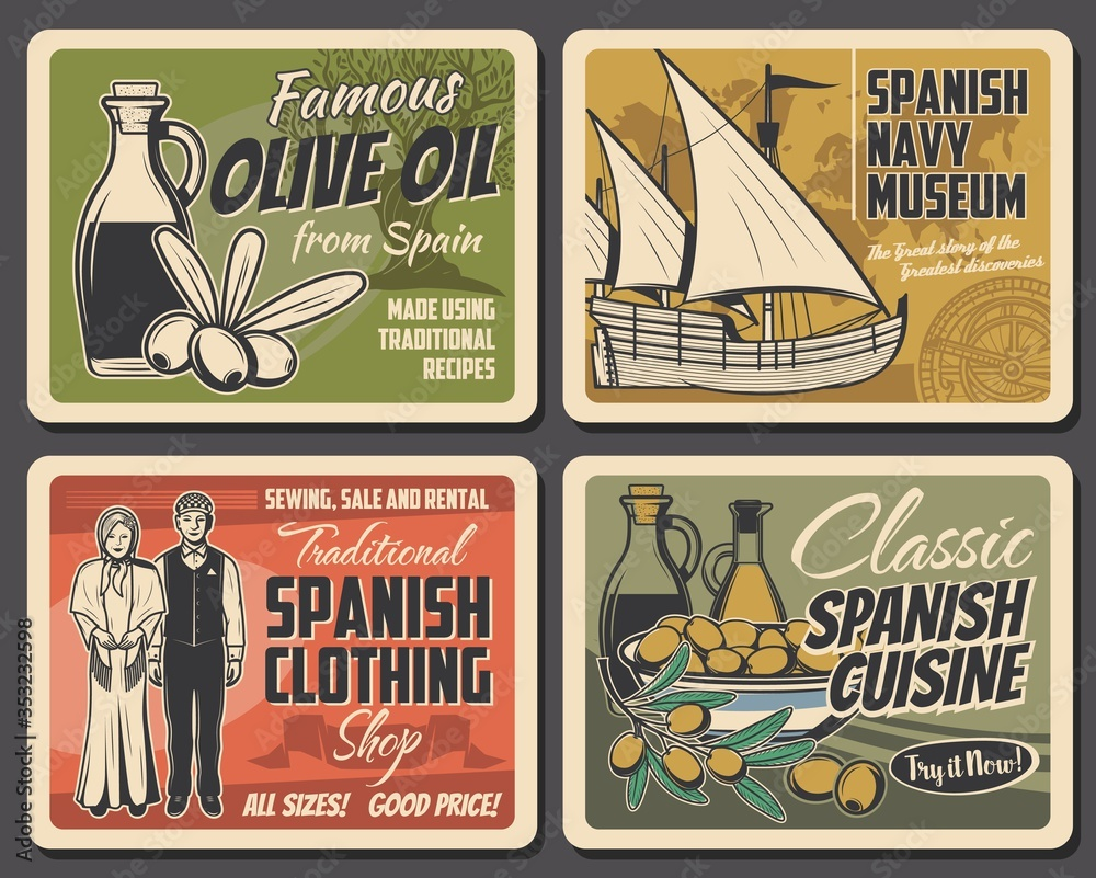 Fototapeta Spanish cuisine food and culture traditions, vector travel and tourism. Spanish olives and oil bottles, national costumes, Columbus sailing ship, antique compass and world map retro posters design