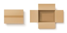 Brown Cardboard Box Realistic Mockup Of Delivery Packages Vector Design. Open And Closed Carton Parcel, Top View Of Empty Shipping Or Storage Packaging Containers