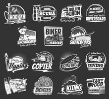 Extreme Sport And Active Leisure Vector Icons. Bicycle, Motorcycle, Surfing Board, Skateboard And Snowboard, Diving, Kitesurfing And Vaping, Roller Skates, Hookah, Hoverboard And Fast Food Emblems