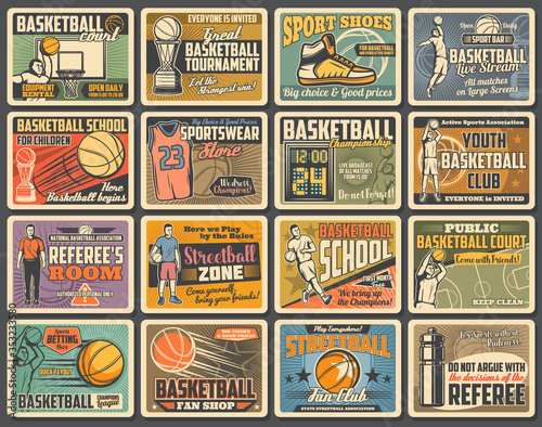 Cuadros en Lienzo Basketball sport player retro posters with vector balls, baskets and hoops