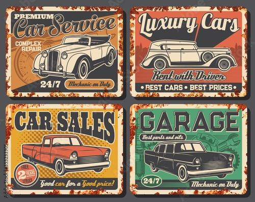 Fotografia Garage station maintenance, rent and vintage car sale metal rusty vector plates