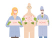 Doctors in uniform, protective suits and medical masks hold placards with words stay at home vector flat illustration.