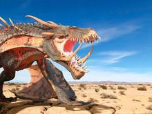 Monster Dragon On Desert Close...