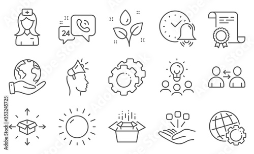 Set of Business icons, such as Packing boxes, Settings gears Wallpaper Mural
