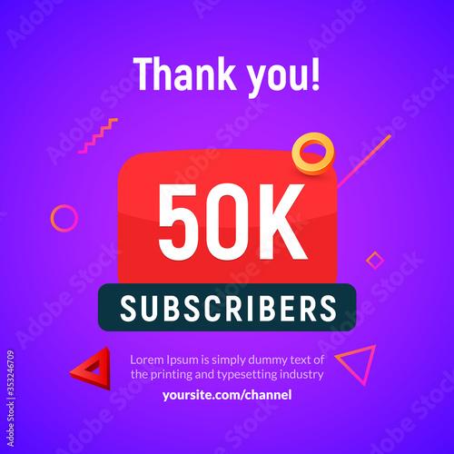 Obraz na plátne 50000 followers vector post 50k celebration