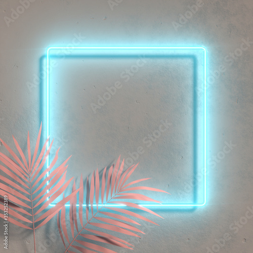 Creative fluorescent color layout made of tropical leaves. Flat lay neon colors. Nature concept. Wall texture summer background. Wall mural
