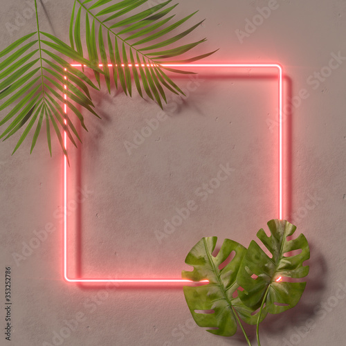 Fotografija Creative fluorescent color layout made of tropical leaves