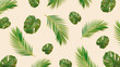 Leinwanddruck Bild Creative layout made of tropic monstera  leaves on pastel background. Minimal summer exotic concept with copy space. Tropical background.