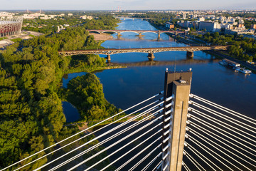 Fototapeta Mosty Warsaw Vistula river and bridges across aerial view