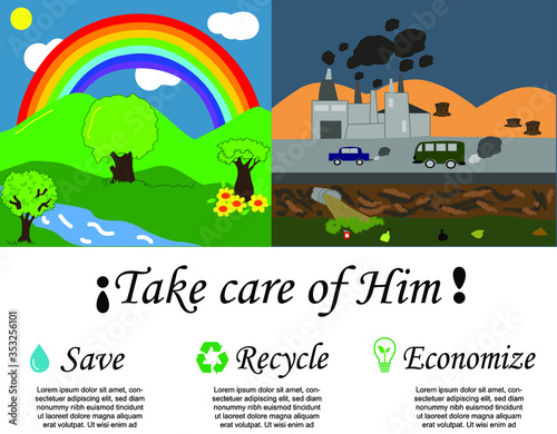 Día mundial del medio ambiente, ilustración para crear conciencia sobre el cuida Wallpaper Mural