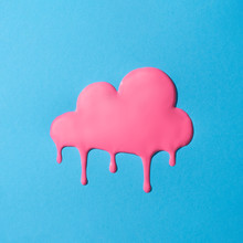 Creative Minimal Vivid Dripping Pink Cloud. Colorful Paint Background.