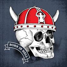 Skull In A Red Viking Helmet W...