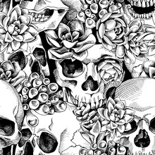 Seamless Pattern With Image Of A Skull And Succulent Plant. Vector Illustration.