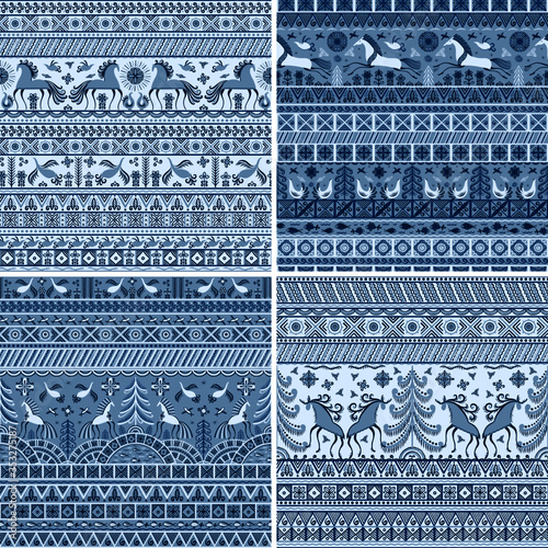 Fotografering Set of four patterns in blue monochrome colours