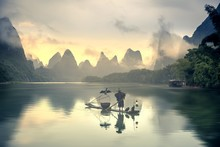 Guilin Landscapes With A Fishe...