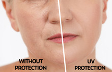 Mature Woman Without And With Sun Protection Cream On Her Face, Closeup