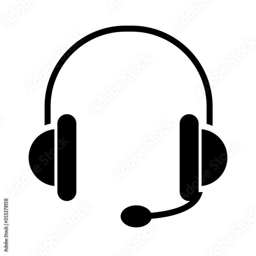 headphones with microphone icon, silhouette style Poster Mural XXL
