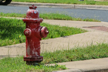 Weathered Red Fire Hydrant