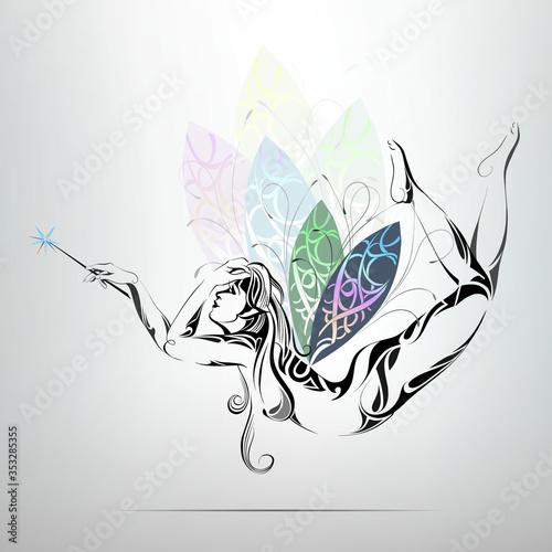 Carta da parati Sorceress with wings rainbow colors. vector illustration