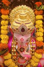 An Indian God Ganesha Idol From Top Angle