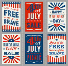 Retro 4th Of July Banners For Social Media, Flyers, Web Pages, Print Media. Vector Illustration.