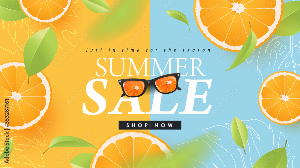 Fototapeta Summer sale design with orange tropical abstract background layout banners .Vector illustration template.