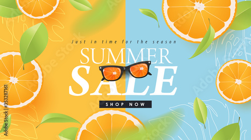 Summer sale design with orange tropical abstract background layout banners .Vector illustration template. - 353287161