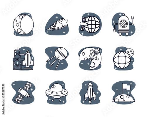 bundle of space set icons Canvas Print