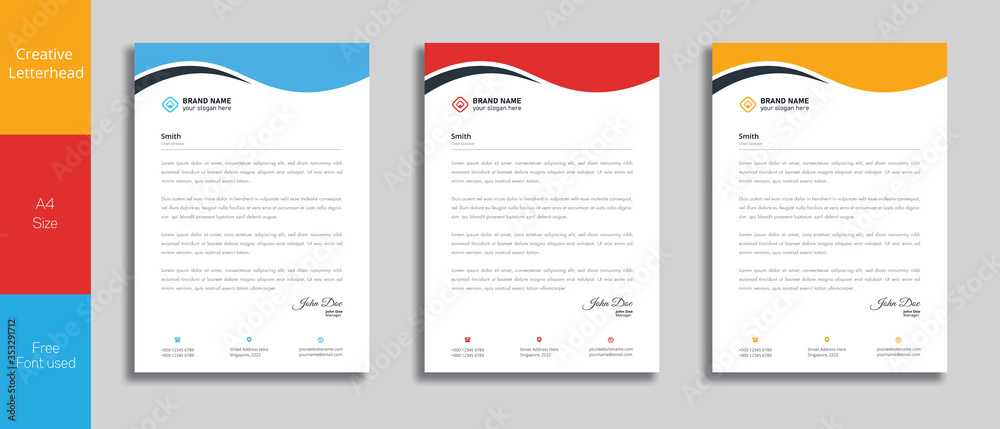 Fototapeta Modern Creative & Clean business style letterhead of your corporate project design.set to print with vector & illustration