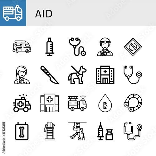 Fototapeta Set of aid icons obraz na płótnie