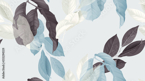 Fototapeta Foliage seamless pattern, various leaves in blue, dark pink and white on bright blue obraz